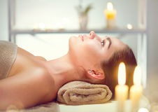 Spa. Beauty woman relaxing in spa salon Royalty Free Stock Photos