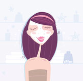 Spa & beauty: woman taking skin care Stock Image