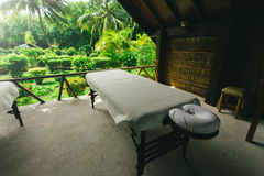 Spa beds ready to massage at outdoors tropical island Stock Photography