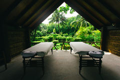Spa beds ready to massage at outdoors tropical island Royalty Free Stock Photos