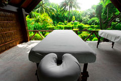 Spa beds ready to massage at outdoors tropical island Royalty Free Stock Photography