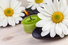 Spa begrepp, vit blomma med brunnsortstenar Arkivbild