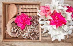 Spa behandling- och massageprodukter Badrumfaciliteter, bästa sikt på en trätabell som dekoreras med blommor Gåvaask för en kvinn royaltyfri bild