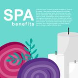 Spa benefits poster with towels and candles royalty free illustration