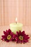 Spa bevekelsegrund med blommor och stearinljuset Arkivfoto
