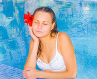 Spa bliss relaxation and tanning Stock Photo