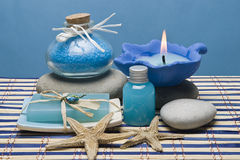 Spa in blue. Spa background in blue with some hygiene items Stock Photo