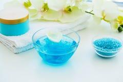 Spa. Blue Bath Salt Beauty Treatment on White Background.  Stock Photography