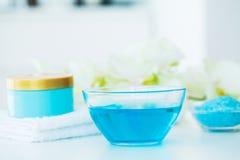 Spa. Blue Bath Salt Beauty Treatment on White Background.  Royalty Free Stock Photo
