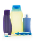 Spa blue products, bottles and tooth brush Royalty Free Stock Photography