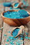 SPA with blue salt. Spa with blue sea salt, selective focus and retro style Stock Photos
