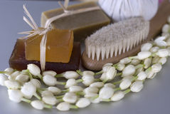 Spa body brush and soap Stock Photo