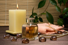 Spa and body care. Relaxing spa and healthy body care setting Royalty Free Stock Images