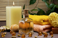Spa and body care. Relaxing spa and healthy body care setting Royalty Free Stock Photography