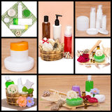 Spa and body care cosmetics and accessories collage. Made of seven images. Bath sea salt, shower gel, body scrub, shampoo, cream, essential oils Royalty Free Stock Photos