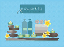 Spa and body care icons flat on blue backgrounds Stock Images