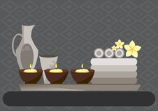 Spa and body care icons flat on gray backgrounds,Vector illustrations Stock Photos