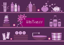 Spa and body care icons flat on violet backgrounds,Vector. Spa and body care icons flat on violet backgrounds Royalty Free Stock Images