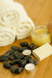 Spa body care products and towels close-up Stock Photo