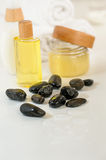 Spa body care products and towels close-up. Close-up of spa body care products wellness treatment Stock Image