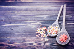 SPA body care set. Sea salt and flowers Royalty Free Stock Photos