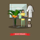 Spa body treatment body wraps concept vector illustration, flat style Stock Image