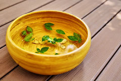Spa Body Treatment. Foot Basin, Bowl. Skin Care Massage Therapy. Spa Body Treatment. Foot Spa Basin, Bowl With Water, Natural Ingredients : Peppermint Leaves Stock Photos