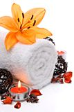 Spa border with towel and lily stock images