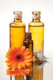 SPA Bottles of Oil With Flower Royalty Free Stock Photo