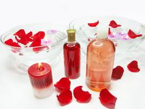 Spa bowl with rose petals and aroma oils. Spa bowls with pink water with rose petals and aroma floral oils Royalty Free Stock Image