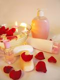 Spa bowl with rose petals and cremes Stock Photography