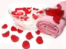 Spa bowl with rose petals and cremes Stock Photos
