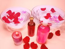 Spa bowl with rose petals and oil essences Royalty Free Stock Images