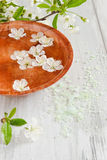 Spa. Bowl of water, cosmetic salt and blooming cherry branch. spa. selective focus Royalty Free Stock Images