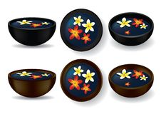 Spa bowls with frangipani flowers Royalty Free Stock Photography
