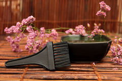 Spa brush against a background of flowers and mat Stock Photo