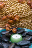 Spa candle ans stones Royalty Free Stock Images