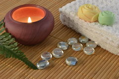 Spa candle concept stock photography
