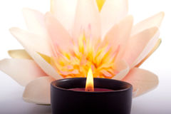 Spa candle and flower for aromatherapy Royalty Free Stock Photo