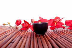 Spa candle and flower for aromatherapy Stock Images