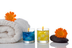 Spa candle  flower towel Royalty Free Stock Photography