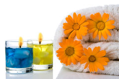 Spa candle  flower towel Royalty Free Stock Photos
