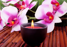 Spa candle and  orchid flower for aromatherapy Royalty Free Stock Photography