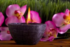 Spa candle and orchid flowers Royalty Free Stock Image