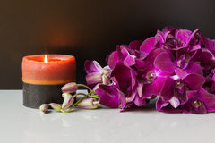 Spa candle and purple orchids Stock Photos