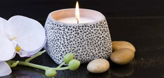Spa candle setting Royalty Free Stock Photos