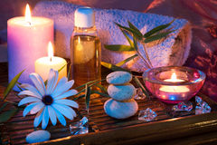 Spa candle stone ice oil bamboo Royalty Free Stock Photo