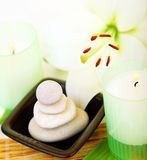 Spa candle and stones Stock Images