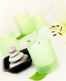 Spa candle and stones Stock Photography
