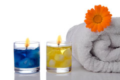 Spa candle towel and flower Royalty Free Stock Photography